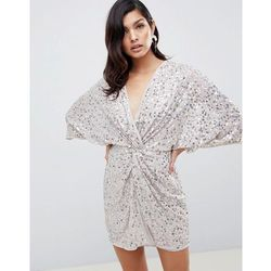 299dacb0 suknie sukienki asos night ombre sequin fringe mini dress multi (od ...