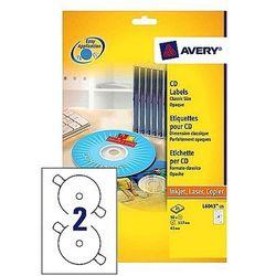 Etykiety samoprzylepne na płyty CD/DVD białe Avery Zweckform L6043-25