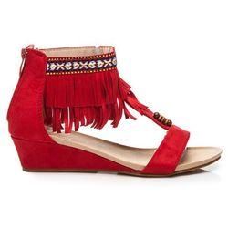 Zamszowe sandały boho Alejandra - odcienie czerwieni