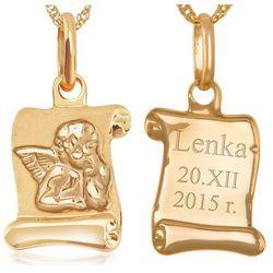 Złoty Komplet 333 z Aniołkiem GRAWER ZZ106