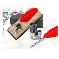 Zestaw piśmienniczy - pióro gęsie z podstawką + kałamarz