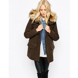 Parka London Marte Hooded Coat With Faux Fur Trim - Green