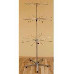 Obrotowy, 3 poziomowy, metalowy stojak do prezentacji np. krawatów - srebrny