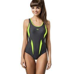 06cc36743408d5 Jednoczęściowy strój kąpielowy Kostium jednoczęściowy Model AQUA II Grafit/Green  - GWINNER