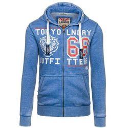 Niebieska bluza męska z kapturem z nadrukiem Denley 6230 - NIEBIESKI 79,99 (-20%)