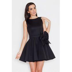 Ekskluzywna piankowa sukienka z kokardą czarna