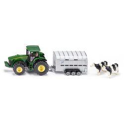 Zabawka SIKU Farmer Traktor John Deere 8430 Z Przyczepą Do Przewozu Zwierząt