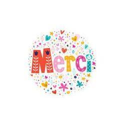 Foto naklejka samoprzylepna 100 x 100 cm - Słowo merci dzięki z napisem karty francuski typografii tekstu
