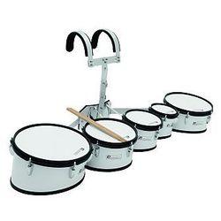 Dimavery MT-530 Marching Drum Set, white, zestów bębnów marszowych