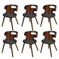 Krzesła jadalniane, drewniana rama, brąz, nietypowe z wycięciem (x6) Zapisz się do naszego Newslettera i odbierz voucher 20 PLN na zakupy w VidaXL!