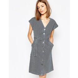 M.i.h. Jeans Belted Denim Dress In Striped Print - Multi