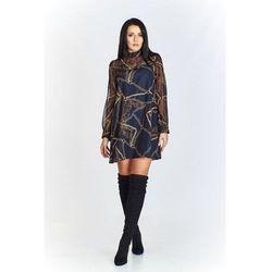 425b5059b0 Wzorzysta sukienka o trapezowym kroju ze stójką i przejrzystymi rękawami z  wiązaniem na plecach