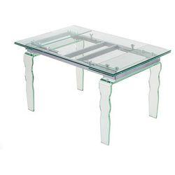 Stół VENDOME CLEAR - Szklany 200/300 cm. Metalowy stelaż. Nogi falowane.