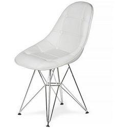 Krzesło DSR Ekoskóra - Czysta biel, nogi metalowe.