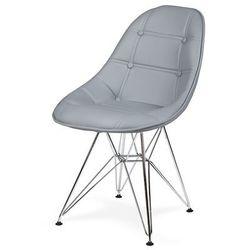 Krzesło DSR Ekoskóra - Popielaty szary, nogi metalowe.