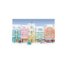 Foto naklejka samoprzylepna 100 x 100 cm - Stare domy historyczne, sklepy i kawiarnia w mieście s pokryte śniegiem