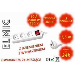 Przedłużacz elektryczny listwa z włącznikiem - 1.5 mb - WS NF 03 K / 1.5 / 1.0 / K - ELMIC biały