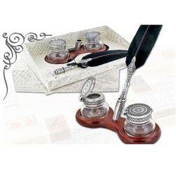 Zestaw biurkowy do kaligrafii La Kaligrafica ( drewniana podstawka + 2 szkane kałamarze + pióro gęsie