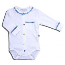 Organiczne Body Rozpinane z Długim Rękawkiem, Be Blue / Białe, NANAF ORGANIC 68