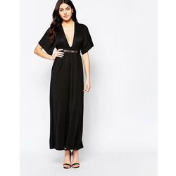 Twin Sister Maxi Dress with Kimono Sleeves and Gold Bar Belt - Black