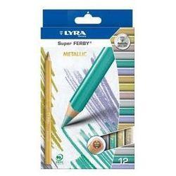 Kredki ołówkowe trójkątne, grube Lyra Super FERBY 12 kolorów metaliczne