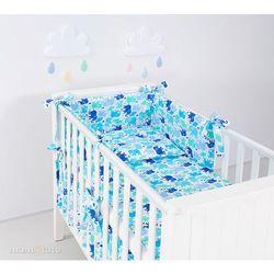 MAMO-TATO rozbieralna pościel 3-el Słonie niebiesko-zielone do łóżeczka 70x140cm