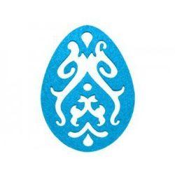 Dekoracja z filcu PISANKA AŻUR duża (III) niebieska - 1 SZTUKA