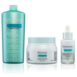 Kerastase Dermo Calm - Zestaw kojąco-witaizujący do wrażliwej skóry głowy: kąpiel 1000ml + serum 50ml + maska 500ml