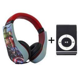 Bezpieczne Słuchawki Nauszne Dla Dzieci Avengers + Odtwarzacz MP3 Czarny
