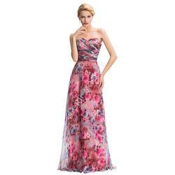 Długa suknia w róże dekolt serduszko. Suknie na wesele, dla druhen, sukienka na bal gimnazjalny, świadkowych, studniówka