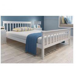 Białe łóżko z drewna sosnowego 200 x 140 cm z materacem Zapisz się do naszego Newslettera i odbierz voucher 20 PLN na zakupy w VidaXL!