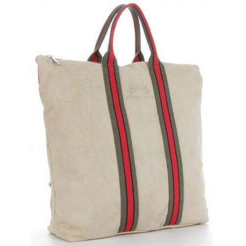 af3369bde0ba1 Włoska Torebka Skórzana w modne paski Shopper w rozmiarze XL z funkcją  Plecaczka marki Vittoria Gotti Made in Italy Beż (kolory)