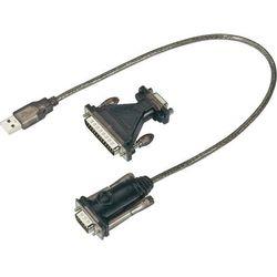 Kabel przejściówka USB 1.1, USB A <=> złącze szeregowe, 0,4 m, giętki, czarny
