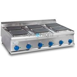 Kuchnia 6-płytowa nastawa moc: 15,6kW (400V) kwadratowe