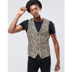 Religion Skinny Waistcoat In Leopard Print Rayon - Tan