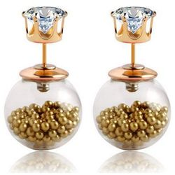 Kolczyki TRIBAL złote z kuleczkami