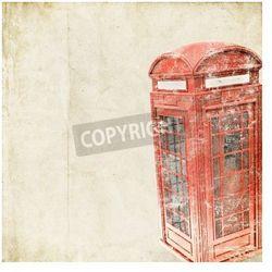 Plakat retro tle brytyjskiej budki telefonicznej