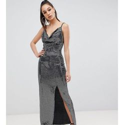 91dba72600 Missguided Tall exclusive tall sequin cowl neck maxi dress with side split  in black - Black