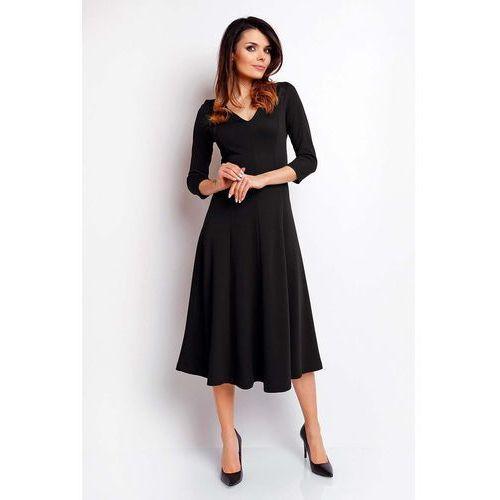 0e73c1a87d Czarna Elegancka Rozkloszowana Sukienka z Dekoltem V - porównaj ...