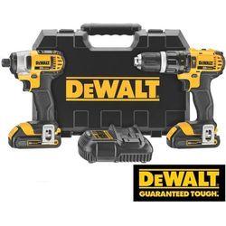 DeWALT Zestaw 2-narzędziowy Combo Li-Ion XR 18 V: wiertarko-wkrętarka z udarem oraz zakrętarka udarowa (DCK285C2-QW)