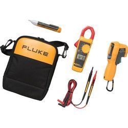 Zestaw: miernik cęgowy Fluke 323, termometr na podczerwień 62 MAX+, próbnik napięcia 1A