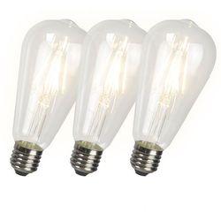 Zestaw 3 żarówek Filament LED ST64 4W 2700K przezroczyste