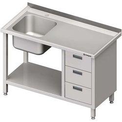 Stół ze zlewem jednokomorowym z trzema szufladami i półką STALGAST 1900x600x850 lewy