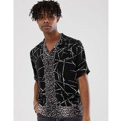 e43c49aabd3982 AllSaints revere collar shirt with monochrome and leopard print - Black.  ASOS. Asortyment koszula męska ...