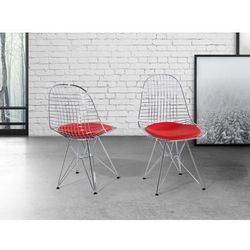 Krzeslo czerwone - do jadalni - do kuchni - chromowane - MULBERRY