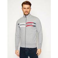 TOMMY HILFIGER Bluza Logo Zip Through MW0MW15237 Szary Regular Fit