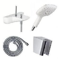 Zestaw wannowo-prysznicowy Hansgrohe PuraVida: bateria wannowa, głowica prysznicowa, wąż wraz z uchwytem, biały/chrom 154724+285574+28276+28331
