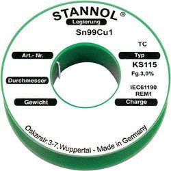 Cyna lutownicza bez ołowiu Stannol 573255 SN99Cu1 1.0 mm 250 g