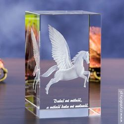 Pegaz 3D w kryształowej statuetce • grawer Twojej dedykacji GRATIS