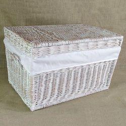 Kufer płaski biały przecierany z obszyciem białym ( 4 wymiary )